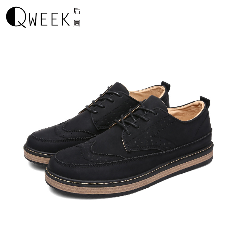 QWEEK Men Casual Shoes Pu Leather British Style Shoes Autumn/winter Flat Shollow Mouth Breathable Zapatos Hombre Shoes Male 2016 new spring autumn breathable casual shoes for men british style fashion men flat shoes blade mens trainers zapatos hombre