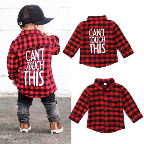 6d3ec6752 2018 New Brand Toddler Kids Baby Boys Printed Plaid Tops Shirt Long Sleeve T -shirt Clothes 1-7T