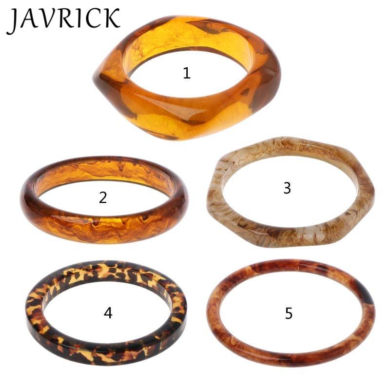 Tortoiseshell Acrylic Bracelet Resin Brown Leopard Mottled Bangle Women Jewelry