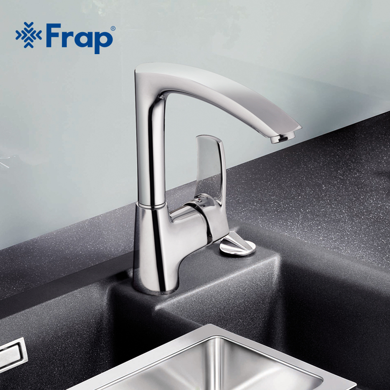 Frap Modern Style Kitchen Faucet Cold and Hot Water Mixer Single Handle Outlet of Right Angle