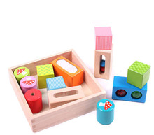 Купить с кэшбэком New Wooden Baby Toys Colour Building Blocks Baby Educational Toys