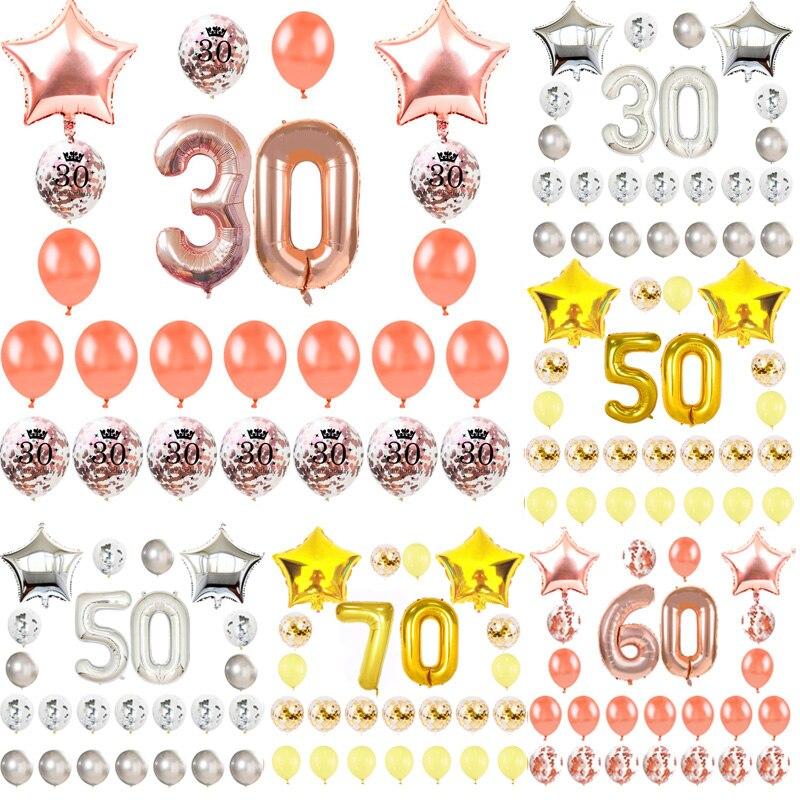 18 21 30 40 50 60 70 Decorações Do Partido feliz Aniversário Adulto Ouro Rosa Confete Estrela Número Um Balão de alumínio Aniversário decoração do partido