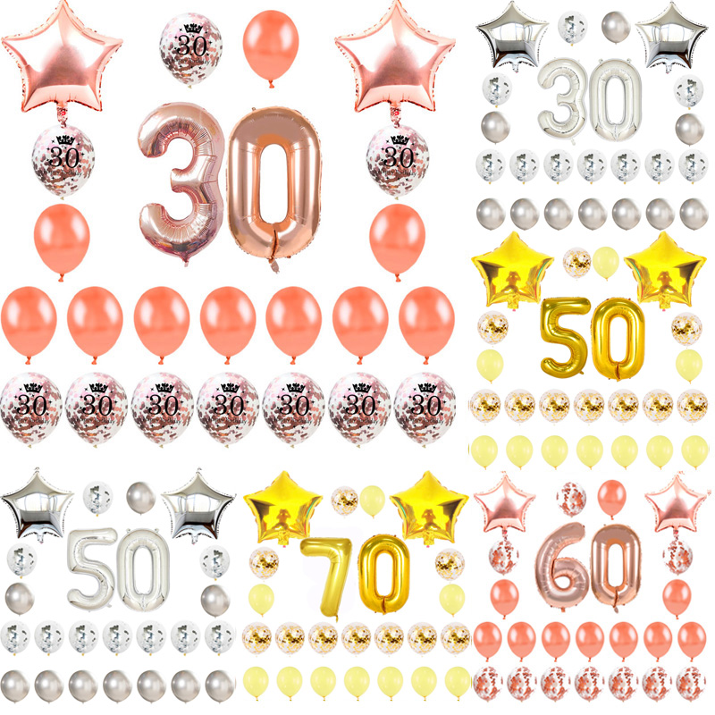 18 21 30 40 50 60 <font><b>70</b></font> Happy <font><b>Birthday</b></font> <font><b>Party</b></font> Decorations Adult Rose Gold Star Confetti Number Foil Balloon Anniversary <font><b>Party</b></font> Decor image