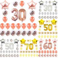 18 21 30 40 50 60 70 adornos para fiesta de cumpleaños adultos oro rosa confeti de estrellas globo de la fiesta de aniversario de decoración