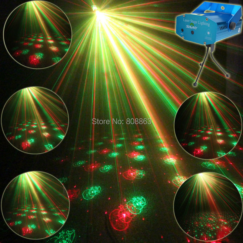 Mini Red Green Laser 6 patterns Christmas Projector Party DJ Lighting lights Disco Bbar Dance Xmas Stage Light Show Tripod XL79 new model mini blue led red green 18 patterns laser projector remote dj lighting dance xmas bar disco home party light show l18