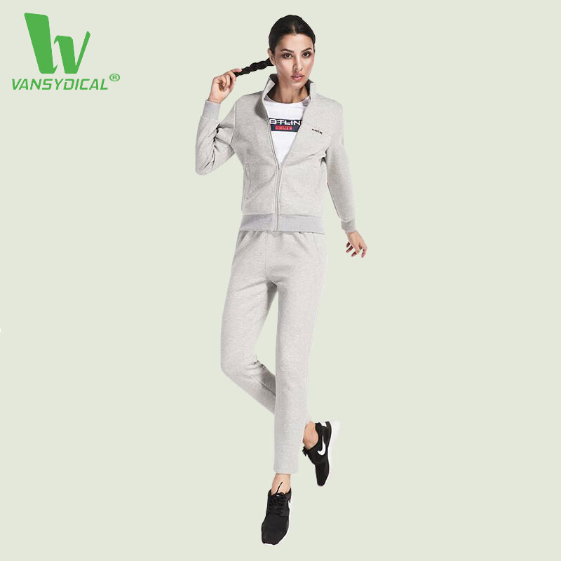VANSYDICAL 3 Pcs Women Fitness Yoga Sets Running Yoga T-Shirt Tops & Jacket & Pants Sports Suit Gym Clothes Workout Training Set 2017 women s yoga pants workout capri leggings running tights side pockets functional pattern patchwork sports leggings jnc2315
