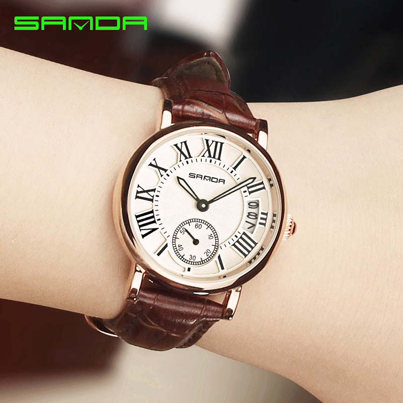 SANDA 2018 Retro Leather Quartz Watch Women Watches Top Brand Luxury Ladies Clock Date Gold Wristwatch For Female Montre Femme sanda gold diamond quartz watch women ladies famous brand luxury golden wrist watch female clock montre femme relogio feminino