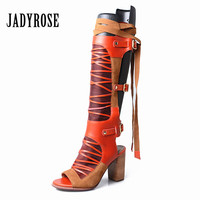 Jady Rose Sexy Summer Boots Women Peep Toe Gladiator Sandals 8CM Chunky High Heel Knee High Boots Lace Up Sandalias Mujer