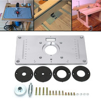 Aluminum Router Table Insert Plate With 4pcs Router Insert Rings Wood Router Tools For Woodworking Benches