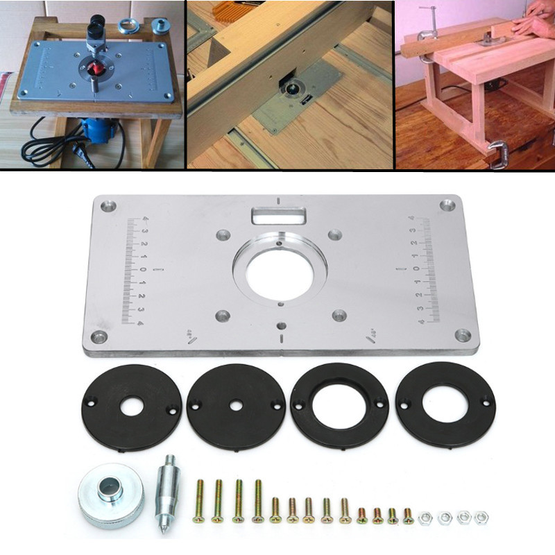 Aluminum Router Table Insert Plate With 4pcs Router Insert Rings Wood Router Tools For Woodworking Benches DIY Home Accessories 300 235mm aluminum router table insert plate diy woodworking benches for popular router trimmers models engrving machine