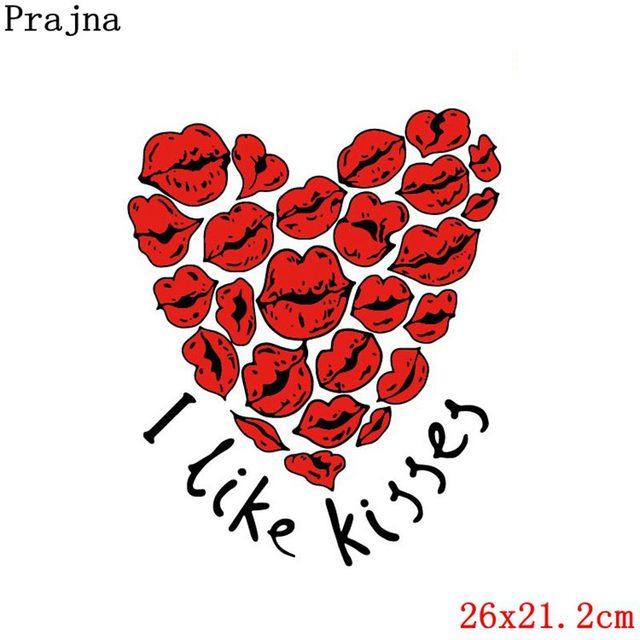 Prajna Love Patches Iron On Princess Pink Romantic Iron On Transfer Kiss Stickers Clothing DIY Stripe On Clothes T-shirt Woman