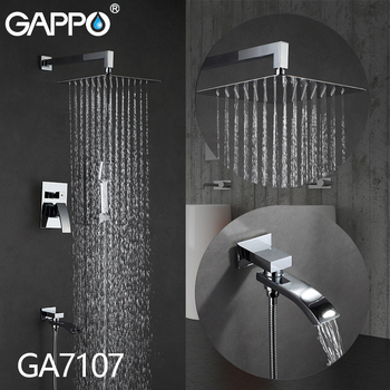 GAPPO Wall bathroom shower faucet brass set rainfall shower mixer tap chrome bathtub faucet tap waterfall Bath Shower 7