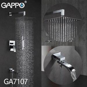 Image 2 - GAPPO duvar banyo duş musluk pirinç seti yağış duş mikser dokunun krom küvet musluk dokunun şelale banyo duş