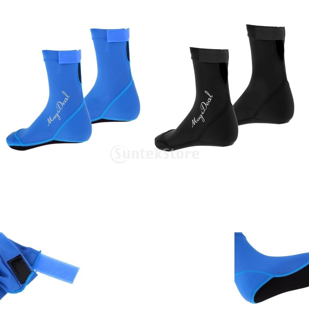 Unisex Adult Men Women Kids Boys Girls Water Sports Beach Socks Scuba Diving Surfing Snorkeling Swim Pool Shoes Black/Blue XS-L