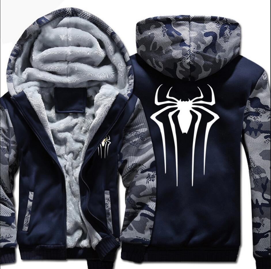 New camouflage spiderman spider man super man Hoodies Game Umbrella Hooded coat thick jacket winter fleece hoodie