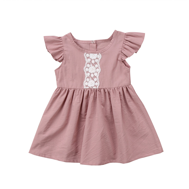 Toddler Baby Kids Girls Summer Lace Short Sleeve Sundress Party Dress Clothes 0-24M lovely toddler kids baby girl summer dress bunny ear short sleeve hooded outfit one pieces princess children dresses sundress