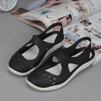 Hole sandals women summer slip waterproof soft bottom plastic sandals baotou flat sandals female jelly beach shoes