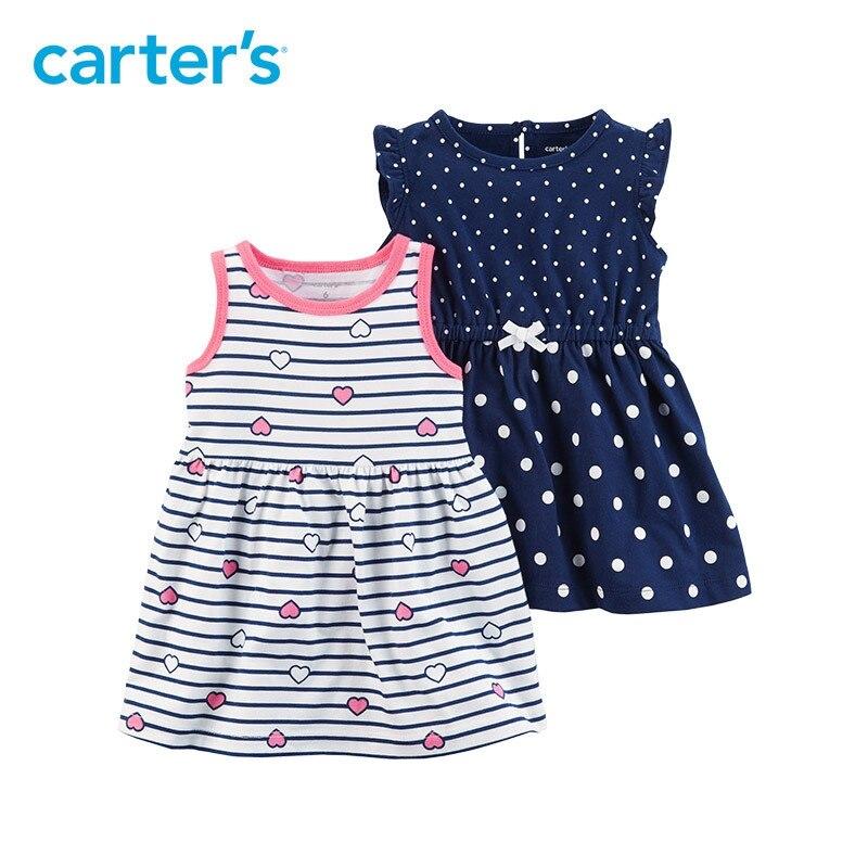 Carter's/2-пакет для маленьких детей Детская одежда для девочек летний трикотаж повторяющийся сердца и платья в горошек 121I175