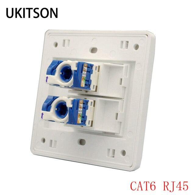 Dubbele Poorten Netwerk Panel CAT6 RJ45 Faceplate Draaien Draad Aansluiting Voor 1000 Mbps Internet Laptop Plug