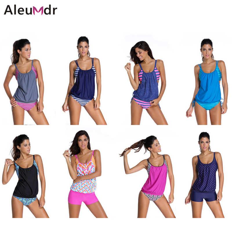 430b403aa0 ... Aleumdr 2018 Women Stripes Swimwear Push-up Tankini Top Bathing Suit  Swimsuit Plus Size Shorts ...