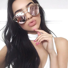 2019 New Cat Eye Sunglasses Women Brand Designer Fashion Twin-Beams Rose Gold Mirror Cateye Sun Glasses For Female