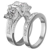 Скидка 90%! Модные женские 100% Серебро 925 пробы три камня квадратный 5a Циркон коктейльное обручальное кольцо палец набор для женщин подарок