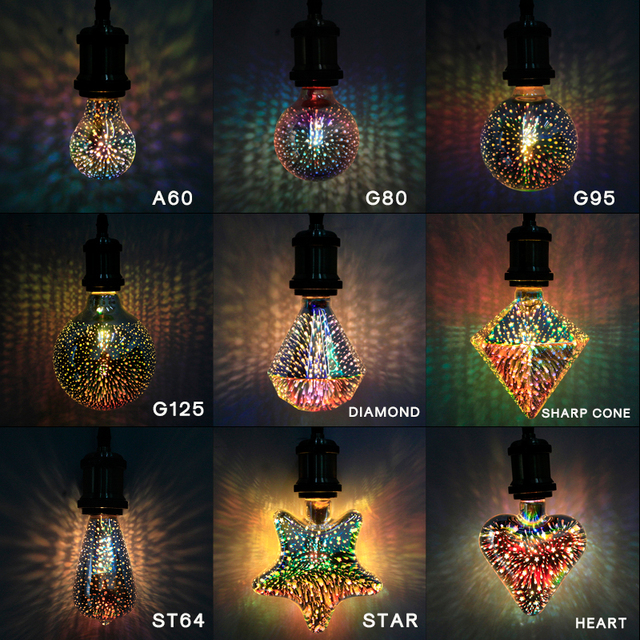 3D Led Bulb 220V Star Heart Diamond Edison Night Light Colorful  Novelty Firework Lampara Holiday Home Bar Decoration