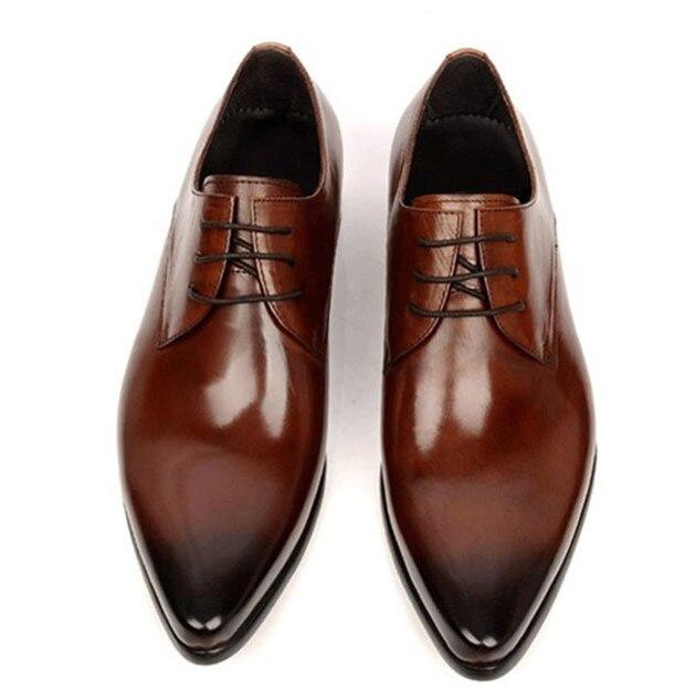 كبيرة الحجم EUR45 أسود / براون تان أوكسفورد أحذية رجالي اللباس أحذية جلد طبيعي الأعمال أحذية أحذية الزفاف الرسمي