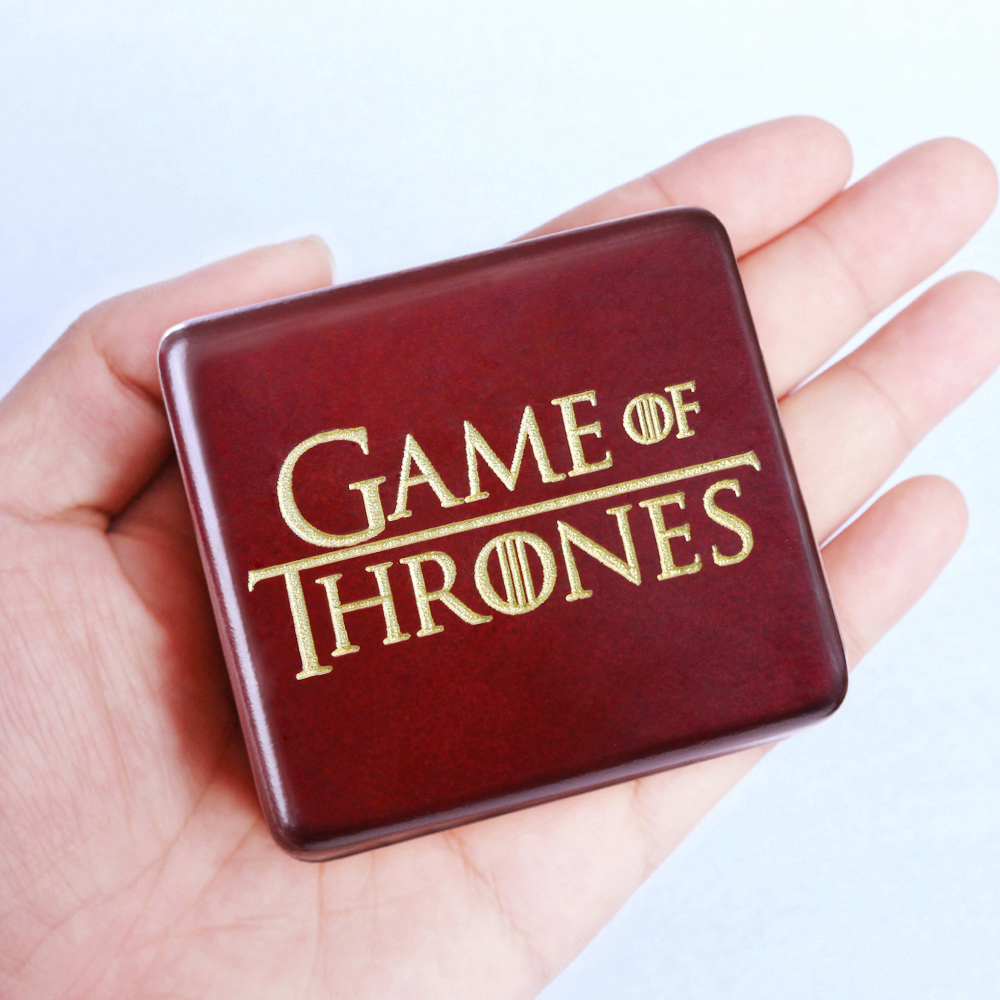 Handmade Wooden Game of Thrones Music Box Wood Carved Mechanism Musical Box Gift For Christmas Valentines day, Birthday, Red