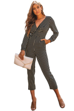 Autumn Women Jumpsuit Red Striped Wrap V Neck Long Sleeve Office OL Pants Romper Slim Chic Elegant
