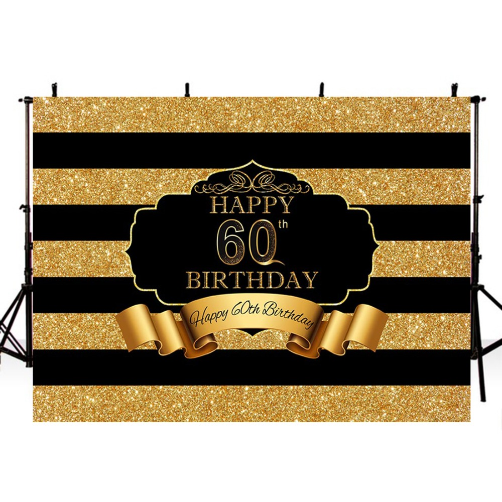 Photography <font><b>Backdrops</b></font> <font><b>60th</b></font> Happy <font><b>Birthday</b></font> <font><b>Backdrop</b></font> For Photography Black Gold Background For Photo Studio Fundo Fotografico image
