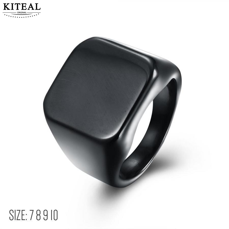 KITEAL exo Titanium Steel Black size 10 7 8 9 engagement ring for male Punk men jewelry  ...