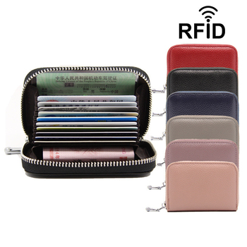 WESTERN AUSPICIOUS Women Business Card Holder Cow Leather Card Wallet Prevent RFID Female Credit Card Holder Red Blue Purple New