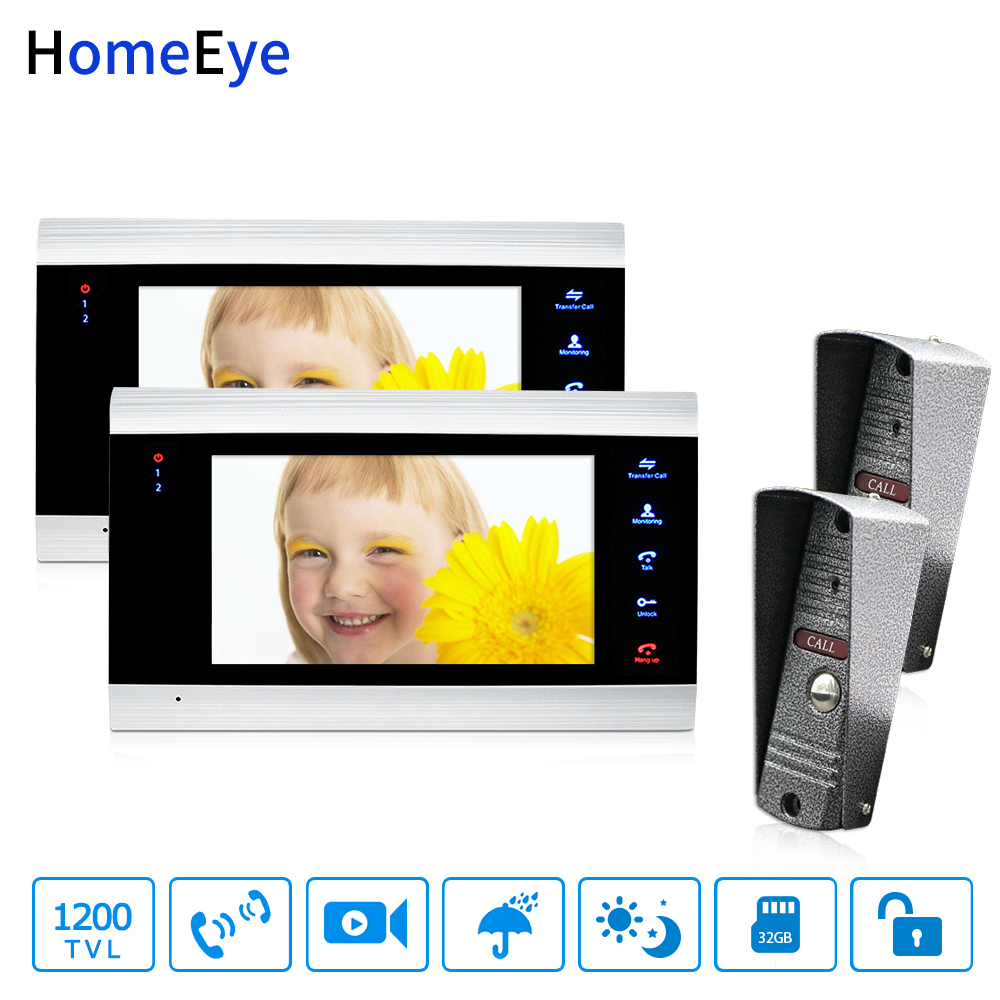 HomeEye 7'' Video Door Phone Intercom Door Bell 2-2 Access Control System Motion Detection Multi-languages OSD Menu Video Record