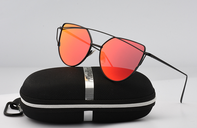 Cat Eye Twin-Beam Rose Gold Frame Sun Glasses