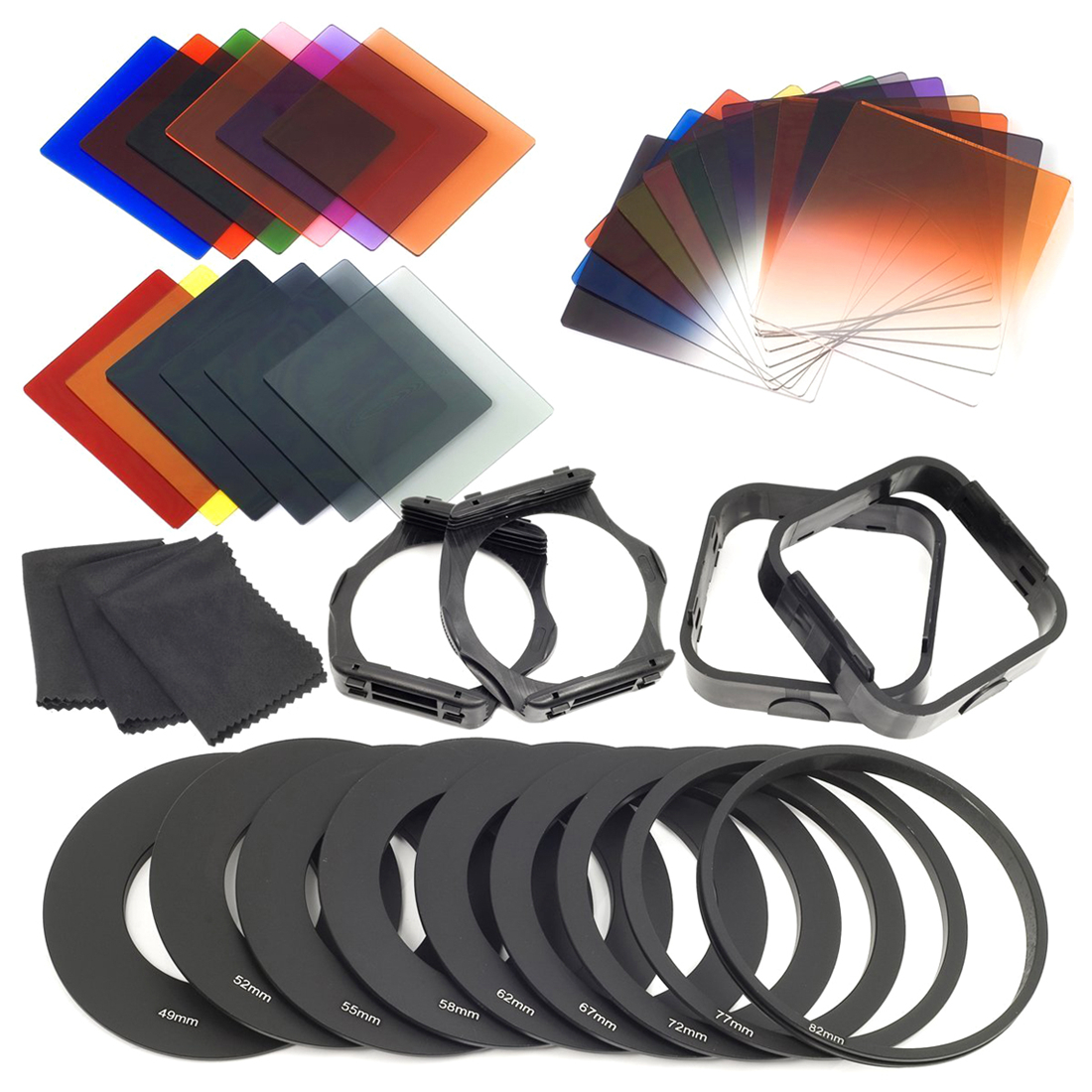 Top Deals 24pcs ND + Graduated Filters + 9pcs Adapter Ring, Lens Hood Filter Holder for cokin p series