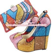 Zapatos mujer High Heels Sexy plataformas plataformas zapatos brillo zapatos de boda Rhinestone bombas zapatos italianos con bolsos a juego
