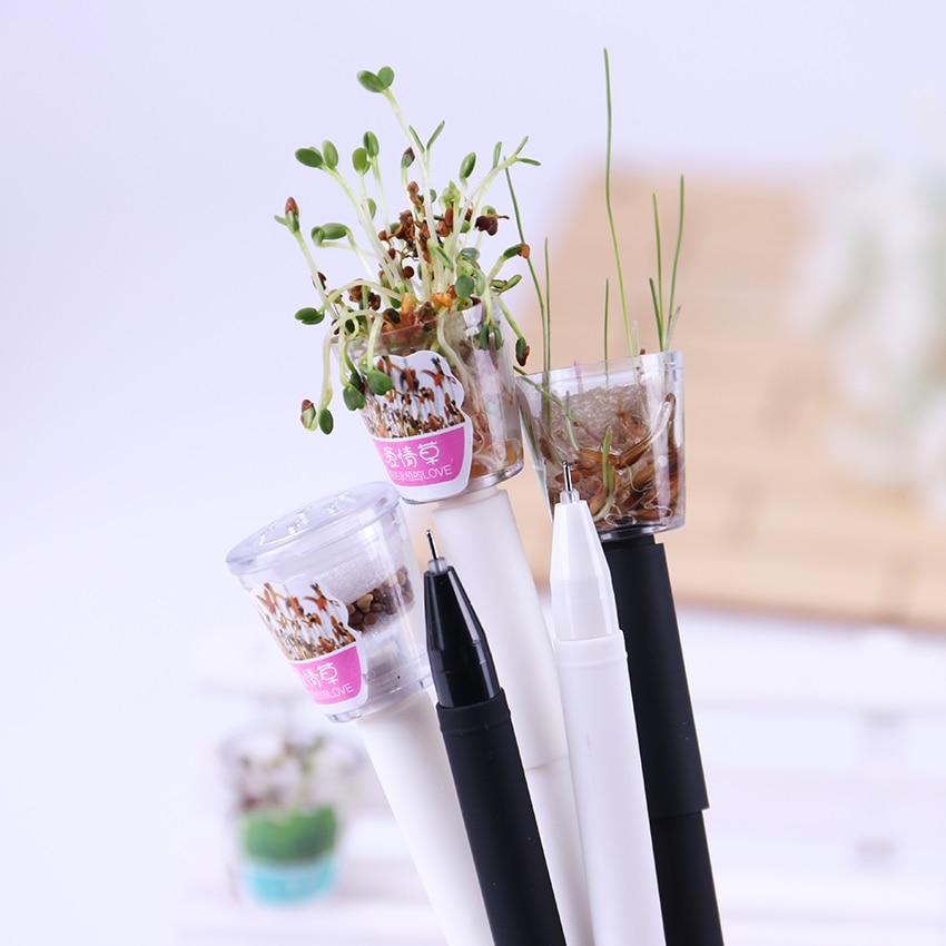 2PCS 0.5mm Novelty Cute Mini Green Potted Grass Plants Gel Ink Pen Kawaii Escolar Papelaria School Office Supplies 164 2pcs portable mini screwdrivers hand tools novelty gadgets