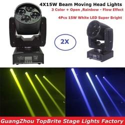 2 stks/partij 60W Led Moving Head Spot Effect Licht 4x15W Super Beam Wassen Mini Verlichting Voor podium DJ Disco Laserlicht Projector