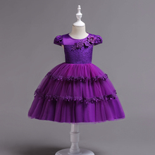 CAILENI Girls Fashion Tiered Princess Dress Kids Three Layers For 1-10 Years Purple Birthday Wedding Party Ball Gown Frock