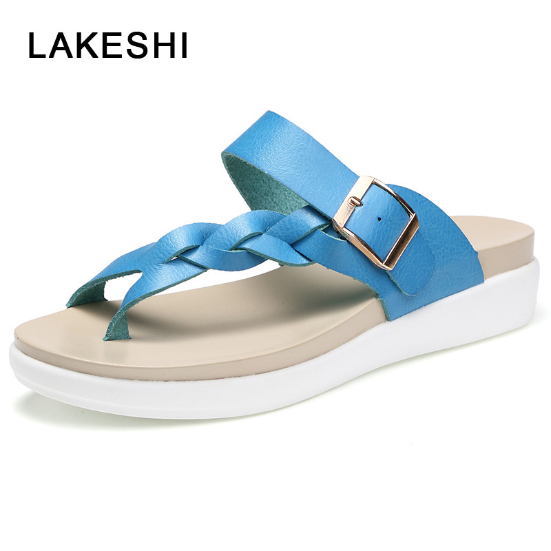 LAKESHI Women Sandals Casual Women Shoes Summer Flat Sandals Fashion Buckle White Ladies Sandals