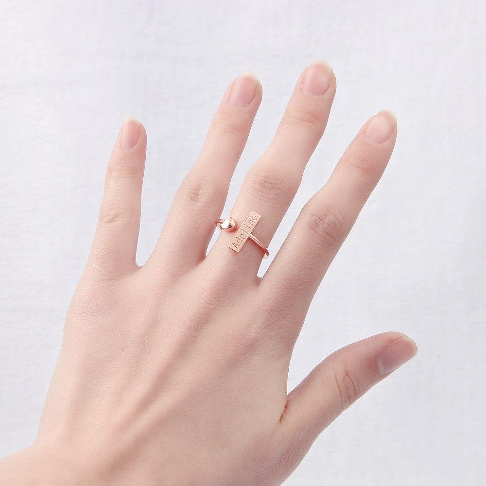 DUOYING Infinity Metal Ring Rose Gold Love Heart Adjustable Custom ...