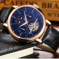 Impermeable reloj de los hombres correa de cuero de cristal de Zafiro de lujo Día Fecha Automática reloj de la máquina azul dial relogio masculino
