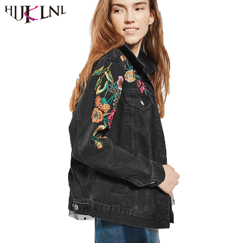 HIJKLNL jaquetas jeans feminino Women Flower Embroidery Black Punk Denim Jacket 2017 Floral Bomber Jacket Long Sleeve Coat NA293