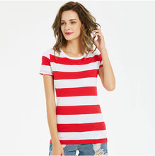 Red and White Stripe T Shirts for Women Tees Striped Colorful Round Neck Short Sleeve Casual Leisure