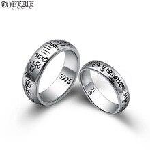 اليدوية 925 الفضة التبتية OM الكلمات حلقة حقيقية 925 الفضة OM ماني بادمي همهمة حلقة الكلمات البوذية خاتم عاشق