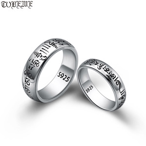 Image 1 - Handmade 925 Silver Tibetan OM Words Ring Real 925 Silver OM Mani Padme Hum Ring Buddhist words Ring Lovers