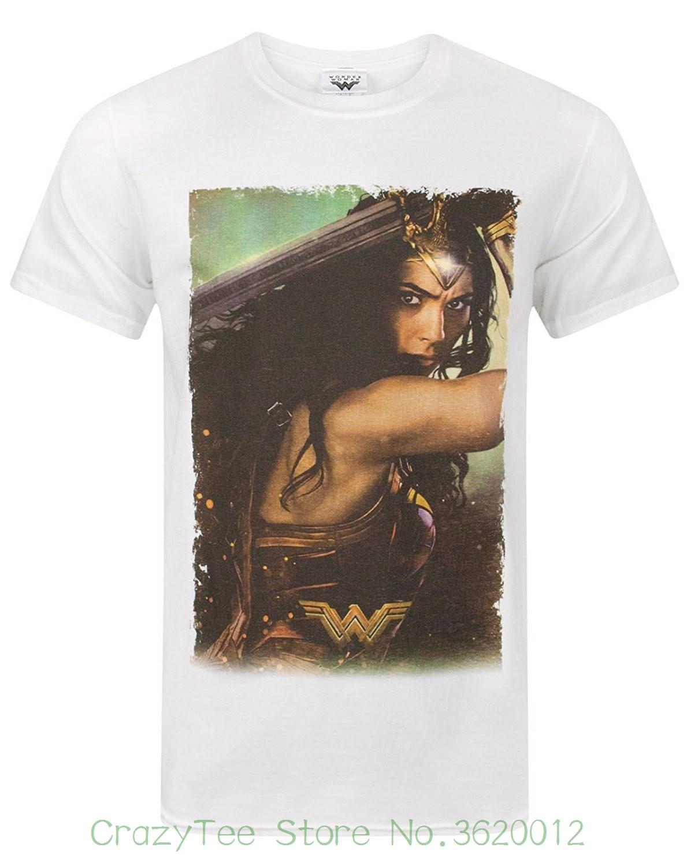 Хорошее качество брендовая хлопковая рубашка Летний Стиль Прохладный Рубашки для мальчиков Wonder Woman плакат Для мужчин футболка