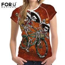 FORUDESIGNS 2018 Womens T-shirt Skeleton Miguel Print Women t-shirts Street Fashion T Shirt Young Girls TShirt K-pop Black Cool