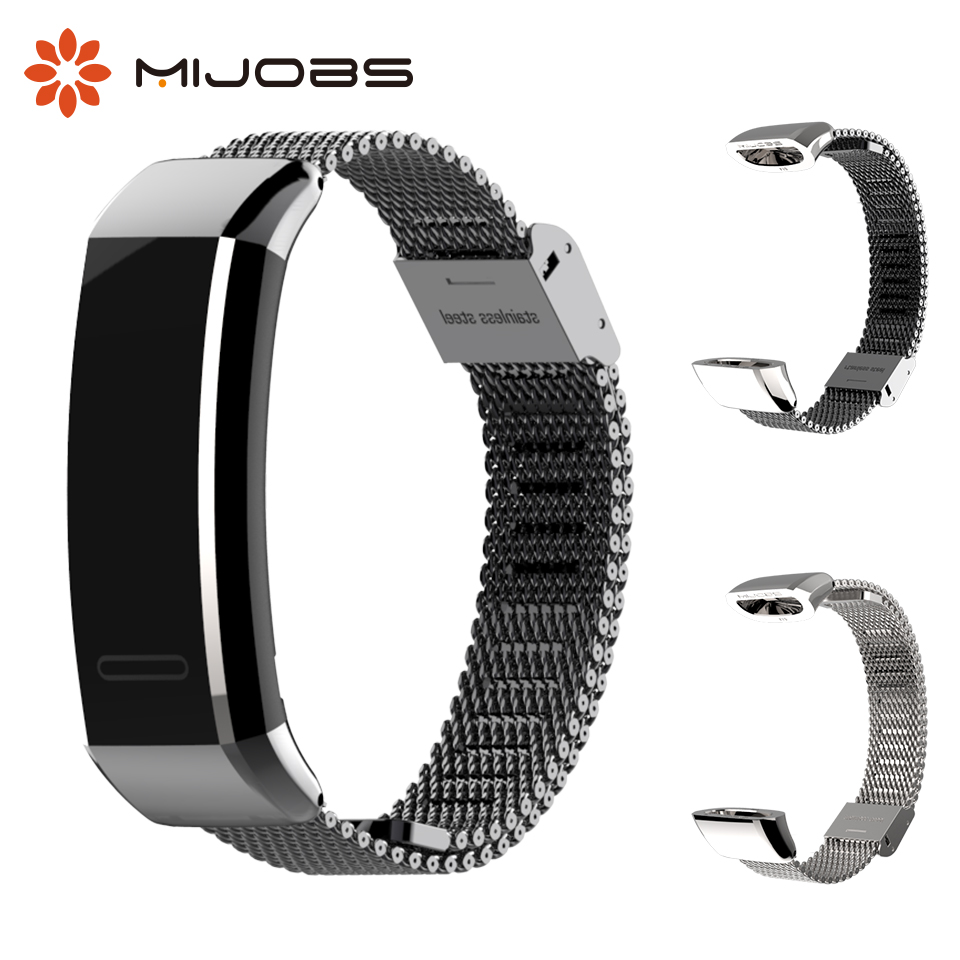 Mijobs Milanese Pulseira de Metal para Huawei Banda 2 Pro B19 B29 Sports Banda Pulseira de Relógio Inteligente para Huawei de Banda 2 Pro Pulseira